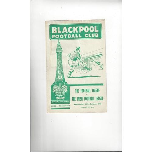 Football League v Irish Football League Football Programme 1960 @ Blackpool