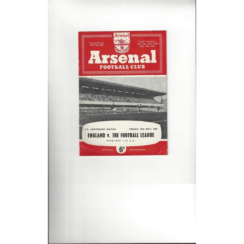 England v Football League  Football Programme 1963 @ Arsenal