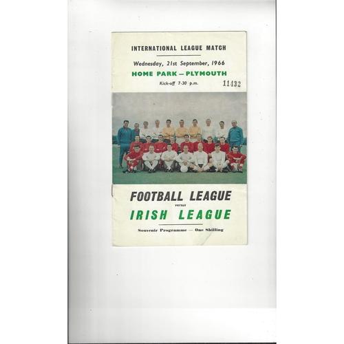 Football League v Irish League Football Programme 1966 @ Plymouth Argyle