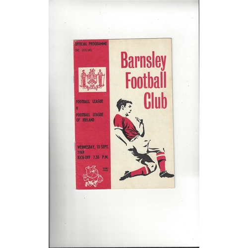 Football League v League of Ireland Football Programme 1969 @ Barnsley