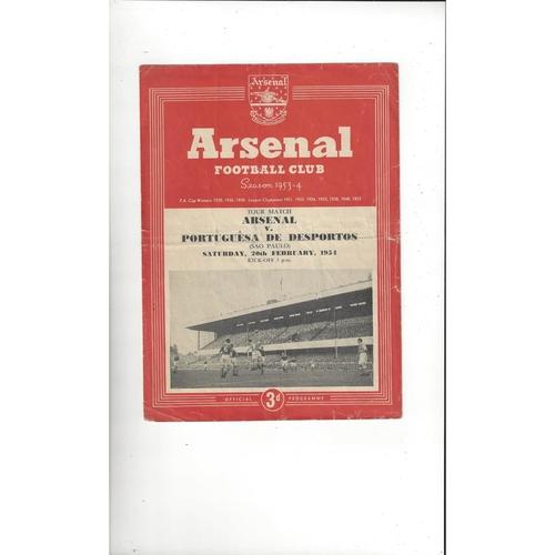 Arsenal v Portuguesa de Desportos Friendly Football Programme 1953/54