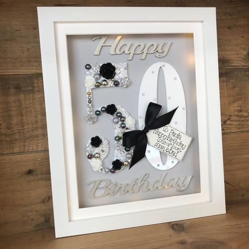 LED Happy 50 th birthday frame