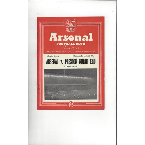 Arsenal v Preston Friendly Football Programme 1953/54