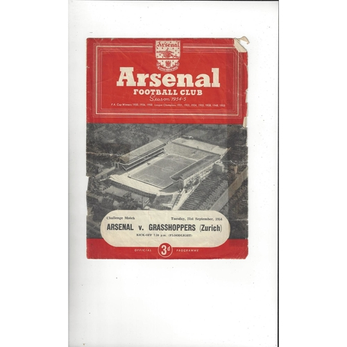 Arsenal v Grasshopper Friendly Football Programme 1954/55