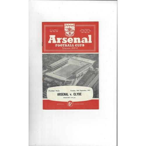 Arsenal v Clyde Friendly Football Programme 1955/56