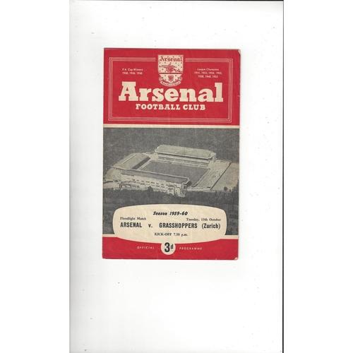 Arsenal v Grasshoppers Friendly Football Programme 1959/60