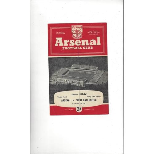 Arsenal v West Ham United Friendly Football Programme 1959/60