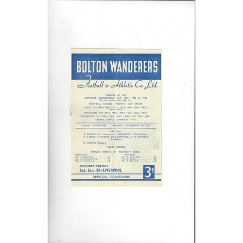 Bolton Wanderers v Liverpool Friendly Football Programme 1956/57