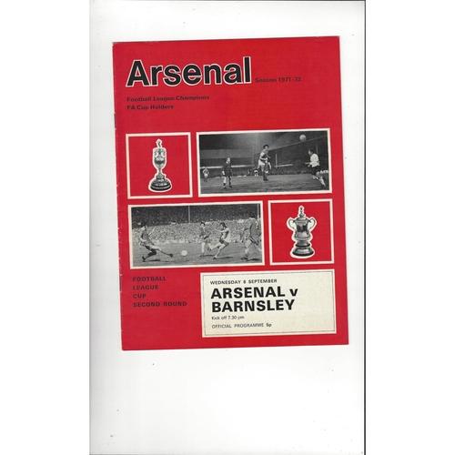 1971/72 Arsenal v Barnsley League Cup Football Programme