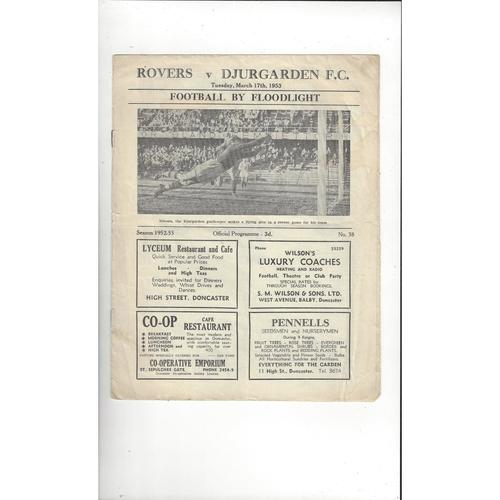 Doncaster Rovers v Djurgarden Friendly Football Programme 1952/53