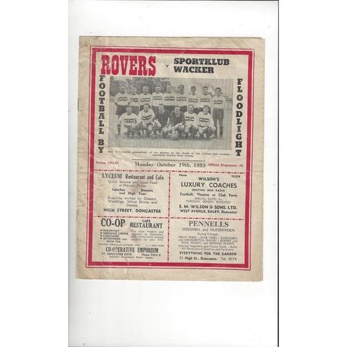 Doncaster Rovers v Sportklub Wacker Friendly Football Programme 1953/54