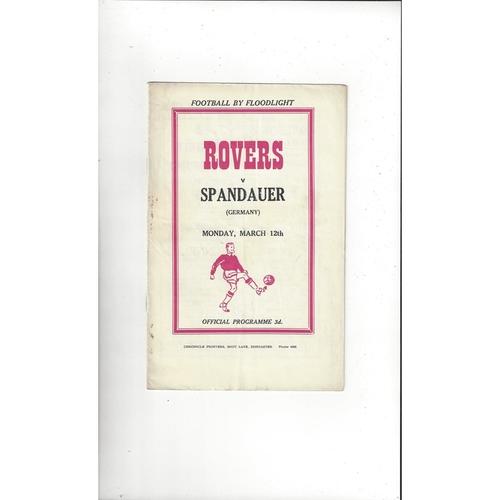 Doncaster Rovers v Spandauer Friendly Programme 1955/56