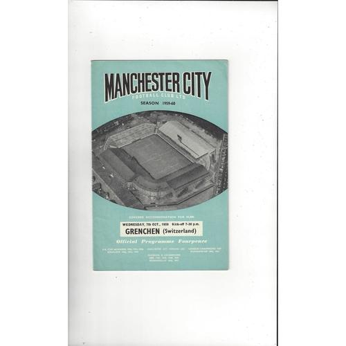 Manchester City v Grenchen Friendly Football Programme 1959/60