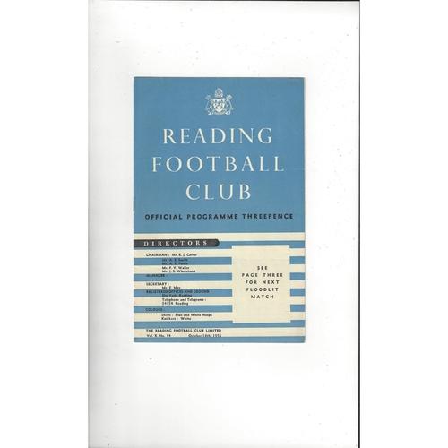 Reading v Circle Athletic Friendly Football Programme 1955/56