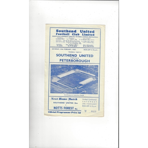 Southend United v Peterborough United Friendly Football Programme 1959/60