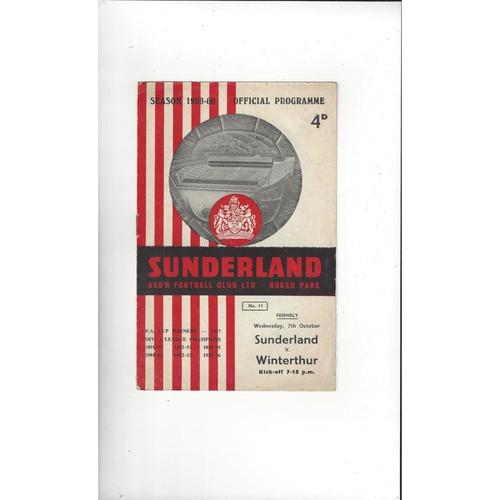 Sunderland v Winterthur Friendly Football Programme 1959/60