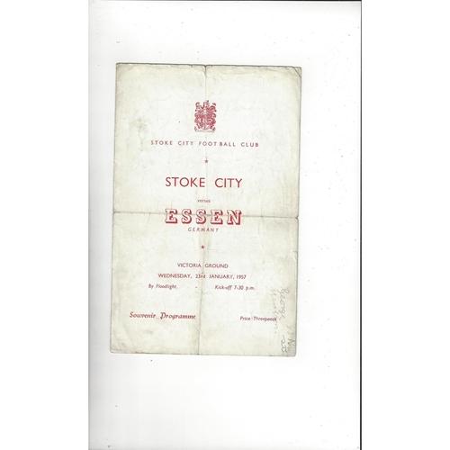 Stoke City v Essen Friendly Football Programme 1956/57