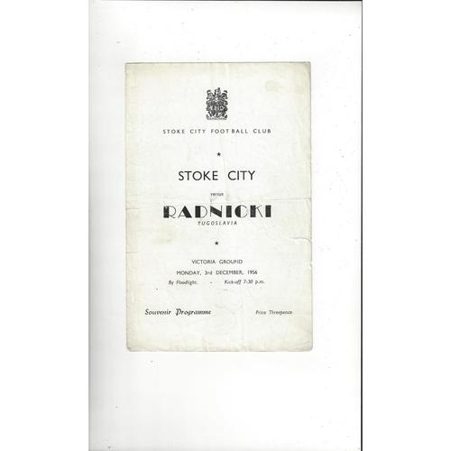 Stoke City v Radnicki Friendly Football Programme 1956/57