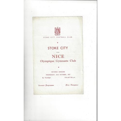 Stoke City v Nice Friendly Football Programme 1957/58