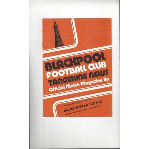 1974/75 Blackpool v Manchester United Football Programme