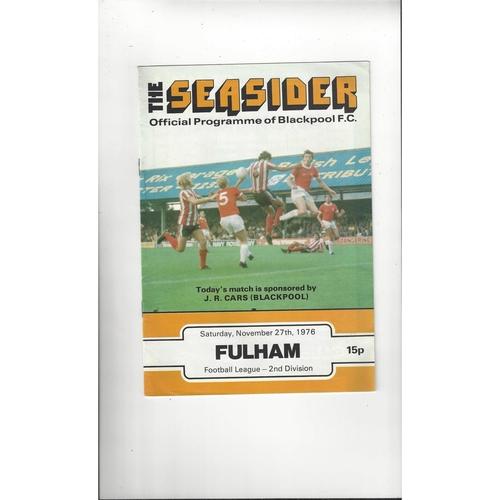 1976/77 Blackpool v Fulham Football Programme