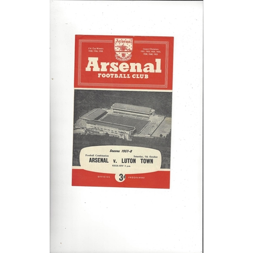 Arsenal v Luton Town Football Combination Football Programme 1957/58