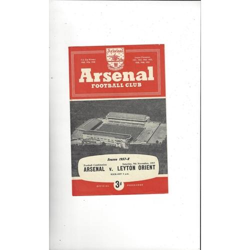Arsenal v Leyton Orient Football Combination Football Programme 1957/58