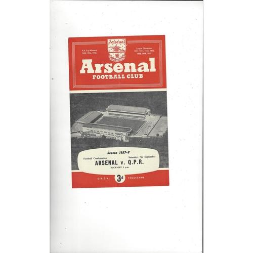 Arsenal v Queens Park Rangers Football Combination Football Programme 1957/58