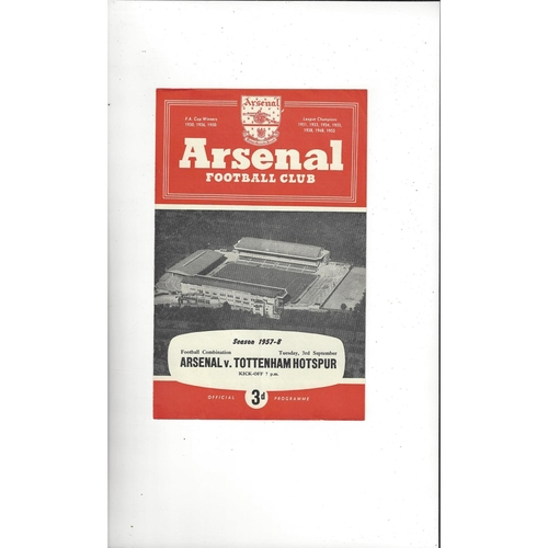 Arsenal v Tottenham Hotspur Football Combination Football Programme 1957/58