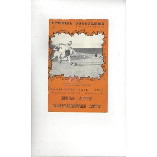 1950/51 Hull City v Manchester City Football Programme