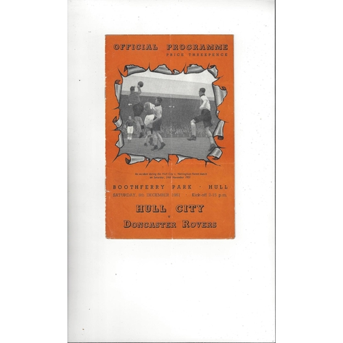 1951/52 Hull City v Doncaster Rovers Football Programme
