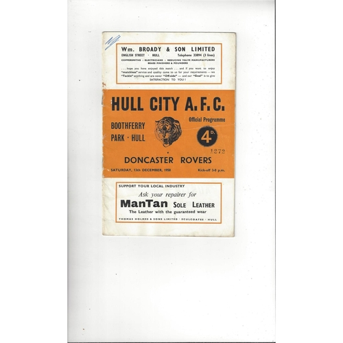 1958/59 Hull City v Doncaster Rovers Football Programme