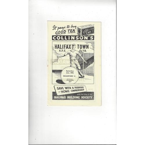 1954/55 Halifax Town v Bradford City Football Programme Postponed