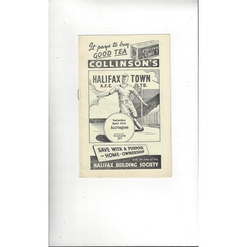 1955/56 Halifax Town v Accrington Stanley Football Programme