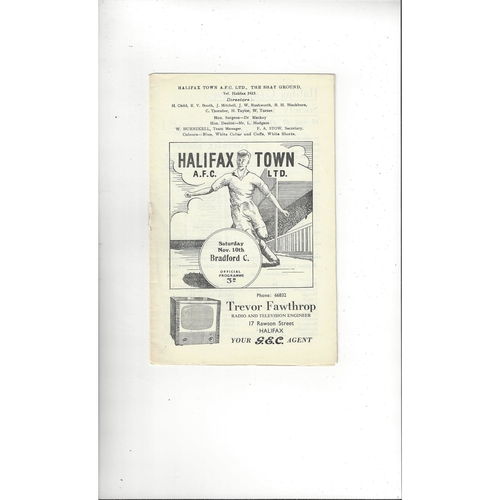 1956/57 Halifax Town v Bradford City Football Programme