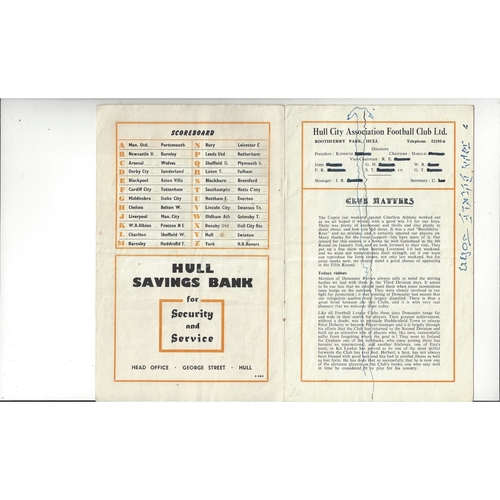 1952/53 Hull City v Doncaster Rovers Football Programme