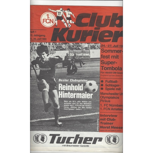 Sommer-Fest Tournament FC Nurnberg v Manchester United Football Programme 1980