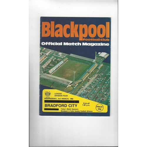 1981/82 Blackpool v Bradford City Football Programme