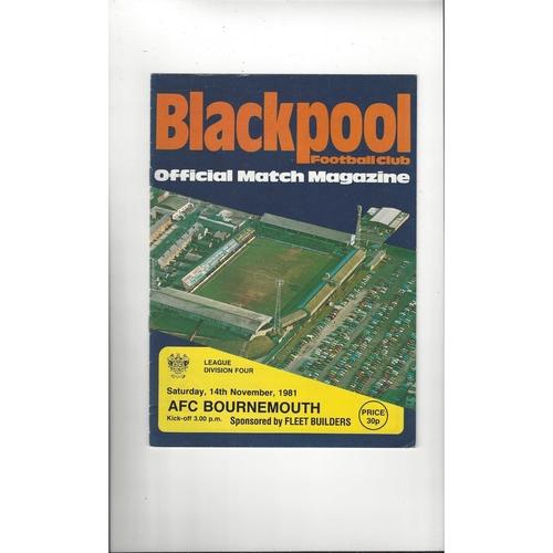 1981/82 Blackpool v Bournemouth Football Programme