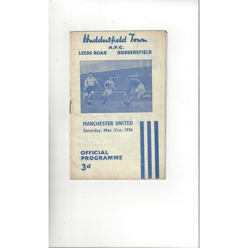1955/56 Huddersfield Town v Manchester United Football Programme