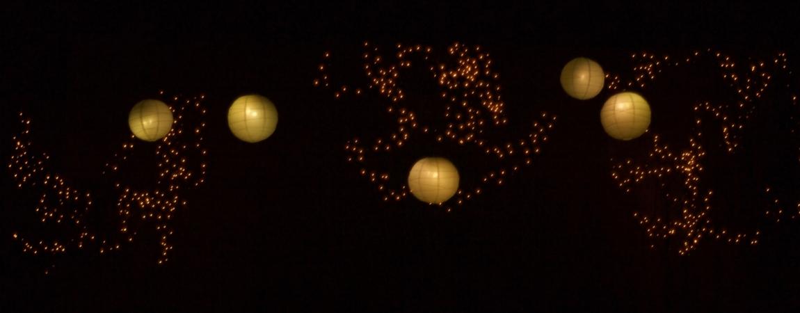 A Midsummers Night Dream lighting design using fairy lights and lanterns
