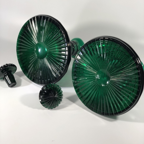 Pair 19th Century green cut glass Ship's decanters
