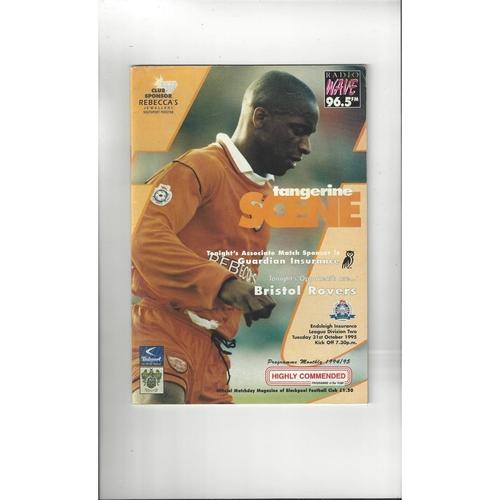 1995/96 Blackpool v Bristol Rovers Football Programme