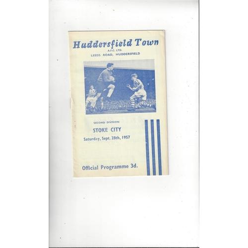 1957/58 Huddersfield Town v Stoke City Football Programme