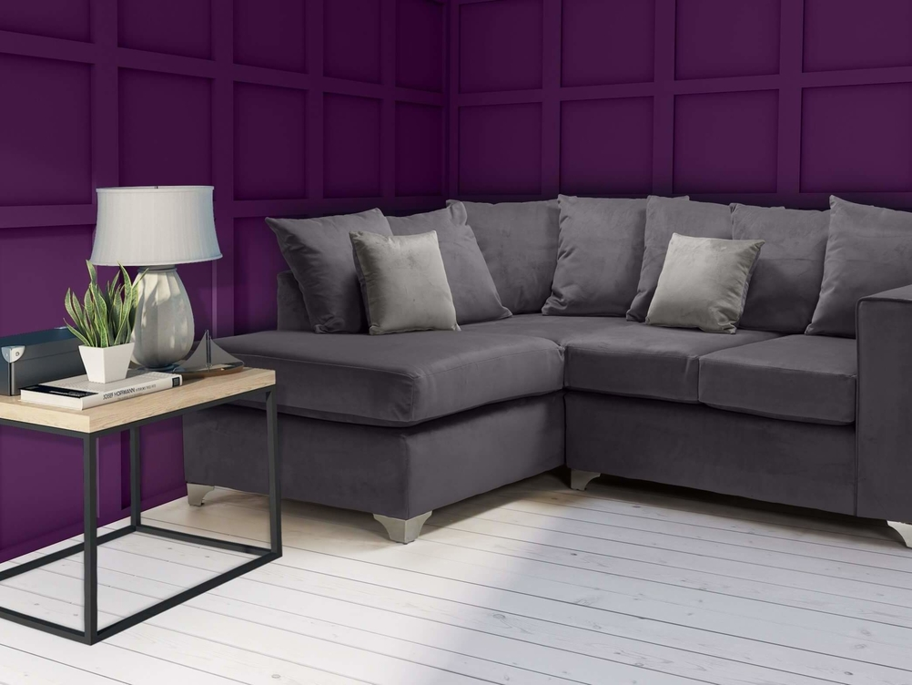 1 CORNER 2 ELLA SOFA IN GREY  FRENCH VELVET