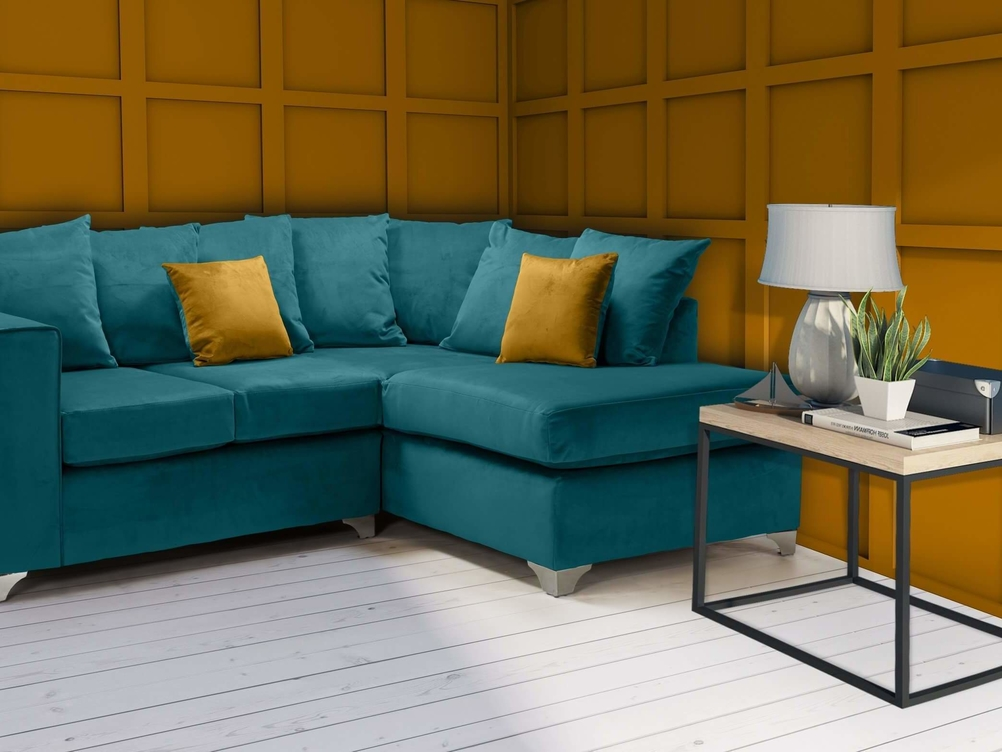 2 CORNER 1 ELLA  SOFA IN TEAL FRENCH VELVET