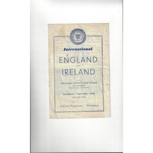 1948 England v Ireland Schools International Football Programme @ Manchester United