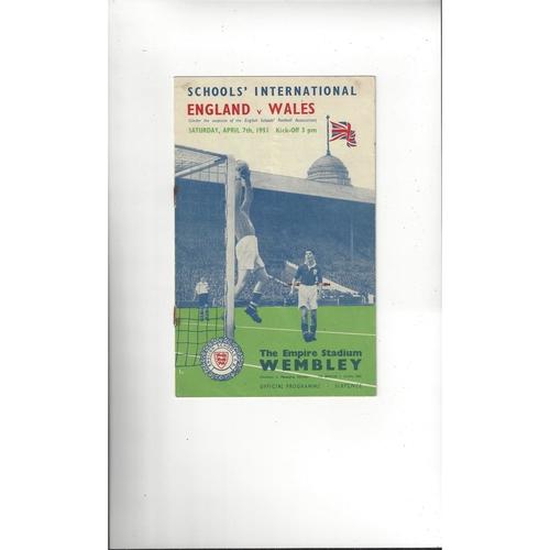 1951 England v Wales Schools International Football Programme