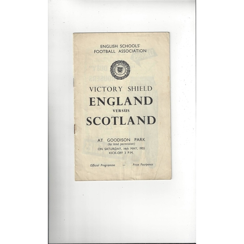 1955 England v Scotland Schools International Football Programme @ Everton