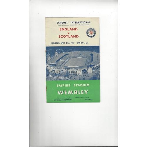 1956 England v Scotland Schools International Football Programme